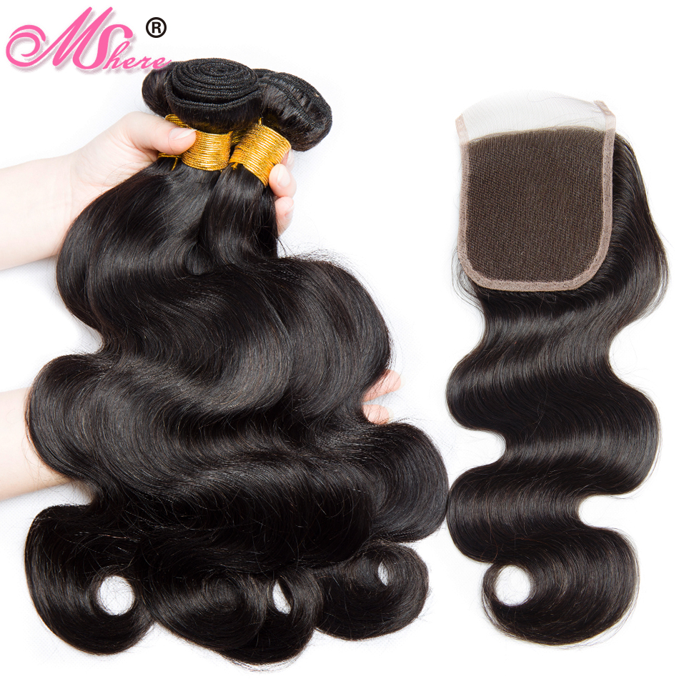 Mshere Hair Indian Body Wave Hair 3 Bundles with Closure 100 Human Hair Bundles With Lace