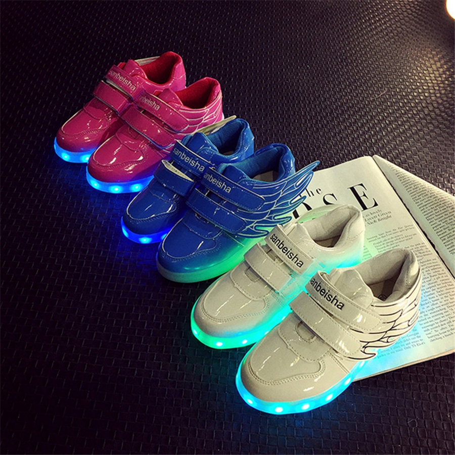 Child Glowing Sneakers Breathable Luminous Shoes Sneakers With Luminous Sole Color Usb Charge Led Shoes Wings Kids 50Z0067 wholesale cheap lights up led luminous casual shoes high glowing with charge simulation sole for women