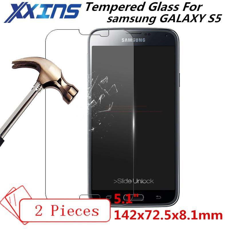2 PCS Tela de Vidro Temperado Para samsung galaxy I9600 S5 G900 TAMPA protetora 5.1 polegada smartphone caso temperado 9 h em cristais