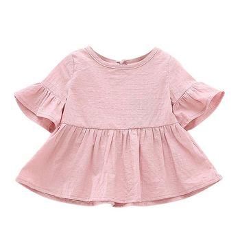 Summer Baby Shirt Cute Cotton Short-sleeved Lotus Leaf Blouses Girls Blouse High Quality conjuntos casuales para niñas