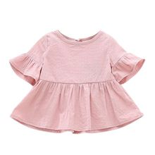 Summer Baby Shirt Cotton Short-sleeved Lotus Leaf Blouses Girls Little Maven Girls High Quality(China)