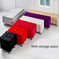 Multifunction Solid Wood Storage Stool Household Change Shoe Bench Commercial Leisure Stool Suede Stable Living Room Sofa Stool