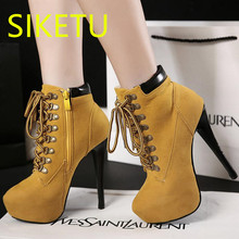 SIKETU women boots Free shipping 2017 Autumn and winter Knee boots fashion Snow Martin boots casual shoes m089 Fine with