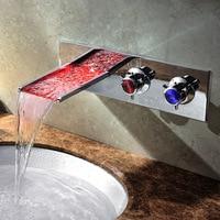 Led مضاءة الحائط شلال حمام حوض صنبور حوض خلاط صنبور كروم النحاس
