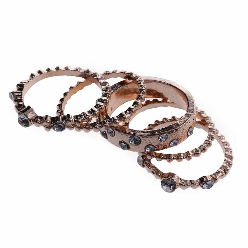 5 pçs/lote estilo punk rosa ouro empilhável anel midi dedo anéis de junta sparkly boho cristal banda anel conjunto para presente de jóias femininas