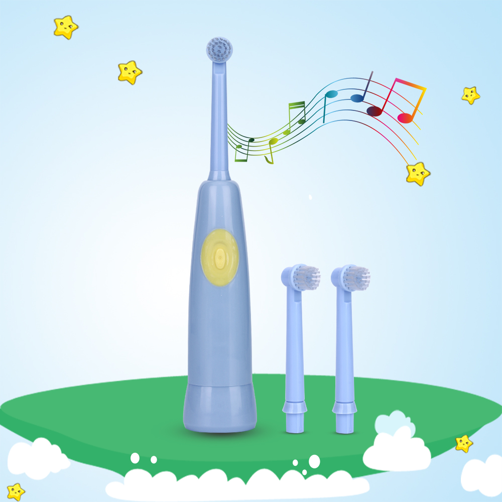AZDENT Fashion Children Music Electric Toothbrush Rotating Battery Electric Musical Kids Tooth Teeth Brush Replacement Heads ckeyin cartoon dolphin children music electric toothbrush led tooth brush 22000 min kids sonic toothbrush electric 3 brush heads