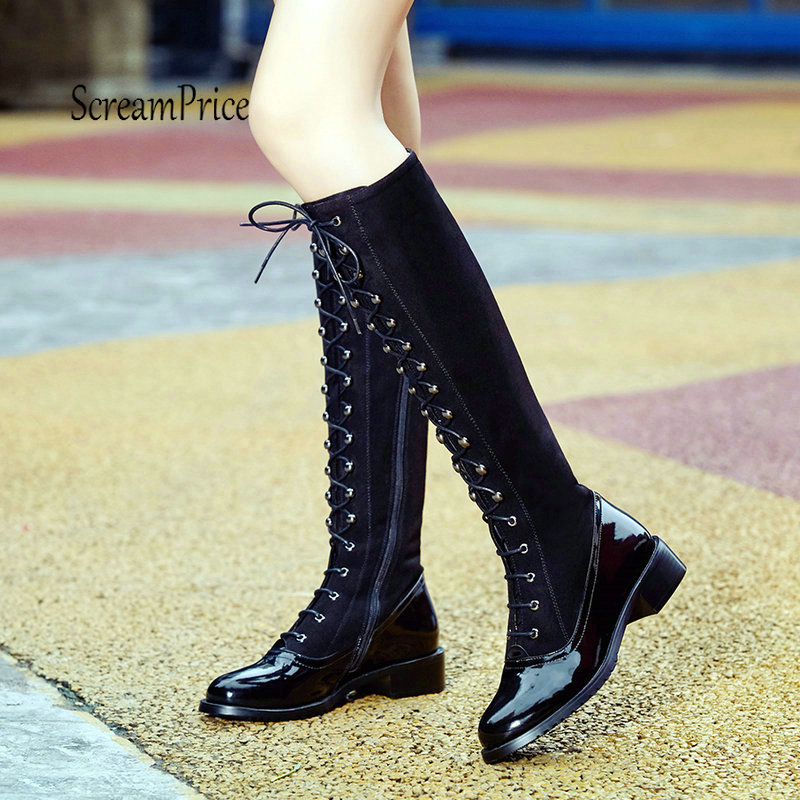 Women Low Heel Knee High Boots Fashion Platform Side Zipper Lave Up Winter Woman Boots Black cicime summer fashion solid rivets lace up knee high boot high heel women boots black casual woman boot high heel women boots