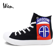 Wen Sport Sneakers Painting Custom Design 82nd Airborne Division Hand Painted Black Canvas Shoes High Top Unisex Skate Shoes