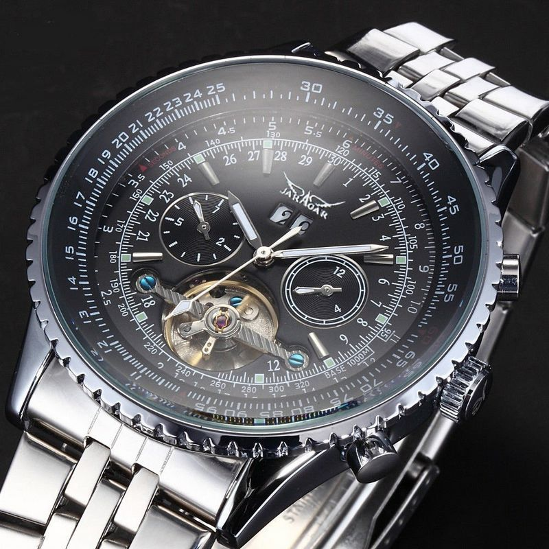 JARAGAR Luxury Relogio Masculino Watch Men Mechanical Auto Turbillion Stell Wristwatch Gift Box Free Ship ik 2017 luxury men s relogio masculino skeleton dial horloge auto mechanical wristwatch original box free ship