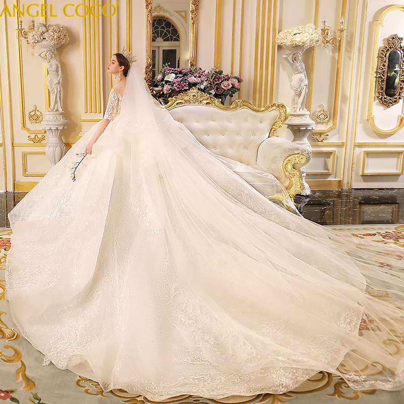 Luxury Lace Embroidery Maternity Wedding Dresses 150cm Long Train Sweetheart Elegant Plus Size Vestido De Noiva Bride Gown 2019