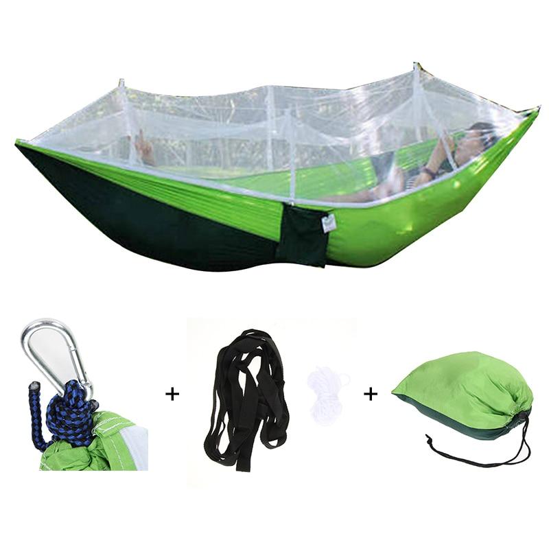 Nešiojami lauko stovyklavietės hamakas, kabantis lova su uodegos tinklu 260x130cm aukšto stiprumo parašiutų audinių palapinės, miegamosios hamakas
