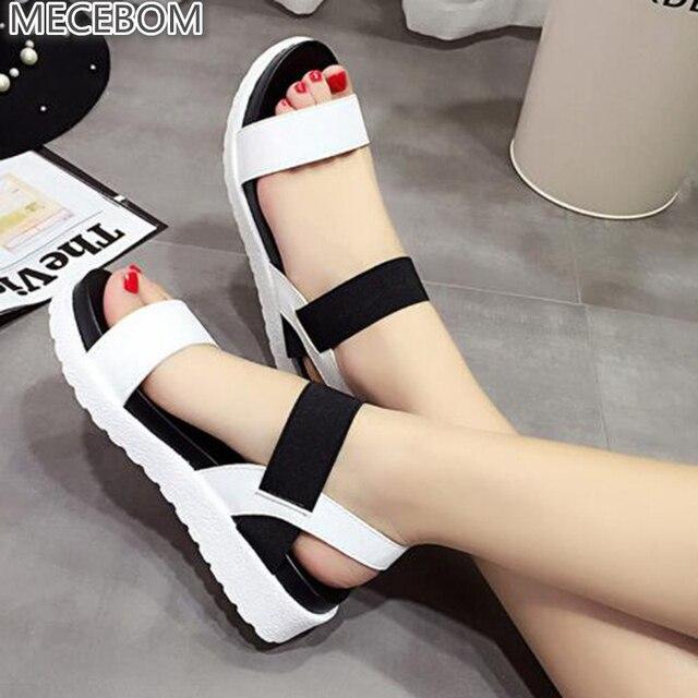 Xăng đan Mùa Hè Nữ Flat Peep mũi sandalias La Mã Giày sandal người phụ nữ Giày Dép kẹp Nữ Giày 810 W