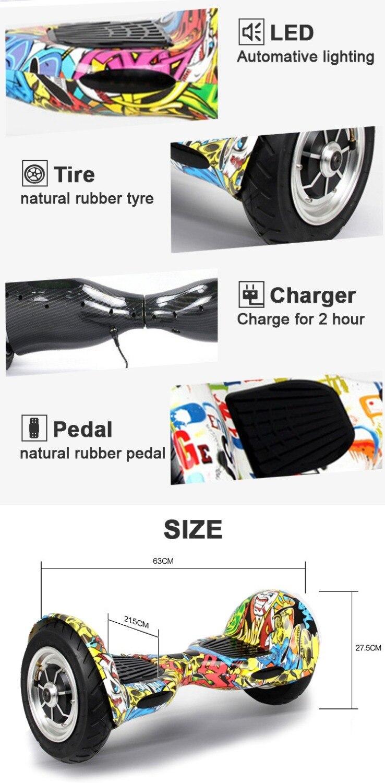 UL2272 Zweirad Smart Balance Elektroroller Hoverboard 10 Zoll - Radfahren - Foto 2