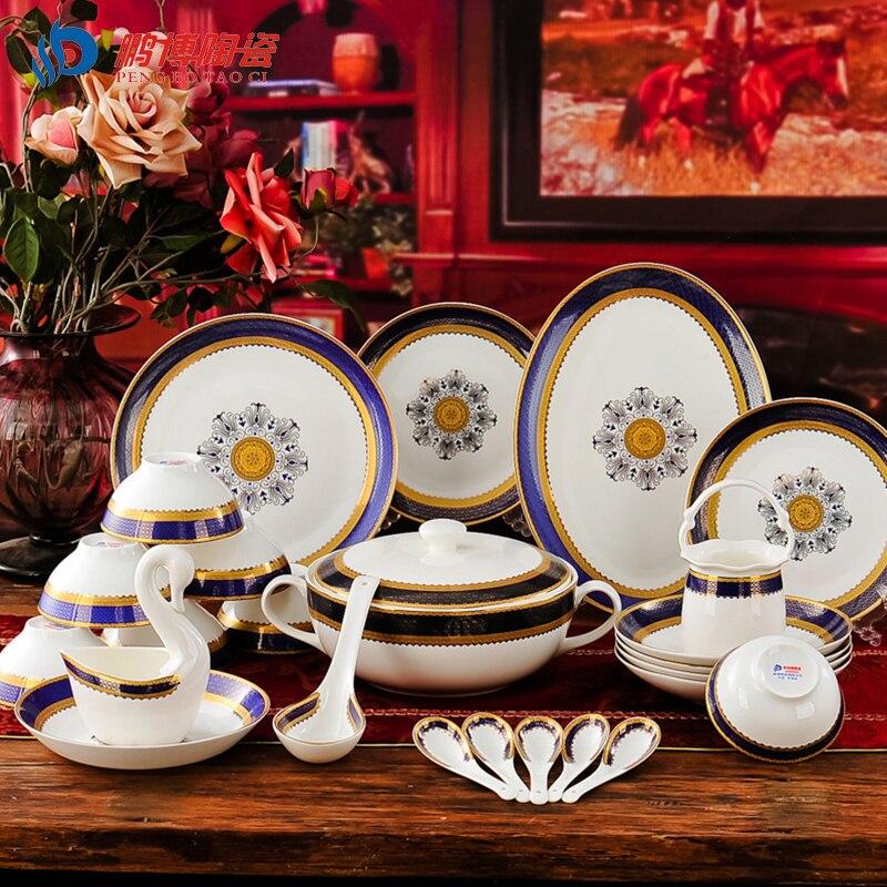 A set european style 56 head bone china royal classical blue tableware dishes - Vaisselle de luxe marque ...