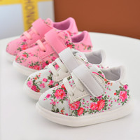 Toddler Infant Baby Girls Shoes Pink Cotton Strap Casual Newborn Girls Sneaker Soft Sole Girls Shoes