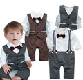 2015 newborn  Baby clothing boys clothing sets infantil gentleman style striped romper + waistcoat baby boy clothes costume