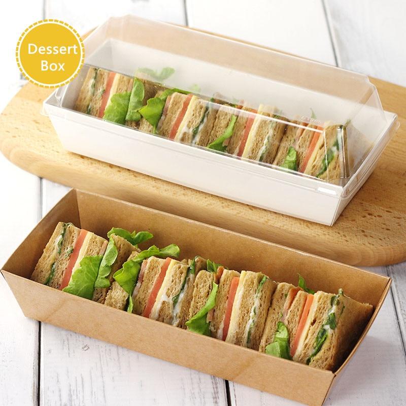 샌드위치 상자 샐러드 디저트 핫도그 롱 케이크 투명 상자 뚜껑 포장 상자 골 판지 종이 선물 상자 10 PC / 많은