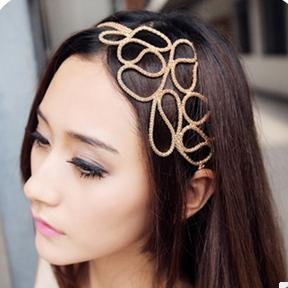 YouMap Multilayer Gold-plated Chain Braided Elastic Hair Rope Femininas Headbands A23R1
