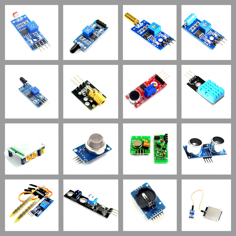 16 In 1 Raspberry Pi 3 2 Sensor Module 16 Kinds Of Sensors 16 Pcs/lot Sensor Kits For UNO R3 Raspberry Pi DIY Module
