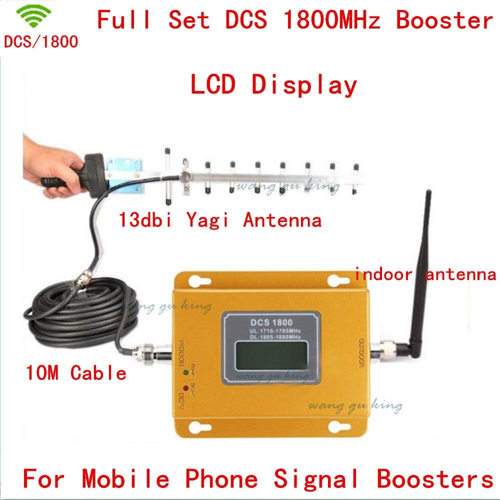LCD Display!!! Mini 2G 4G LTE GSM DCS 1800MHZ Mobile Signal Repeater , DCS 1800 MHz Cellular Signal Booster + 13db Yagi Antenn