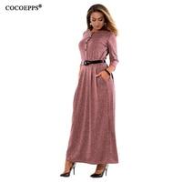 COCOEPPS 5XL 6XL Grandi Dimensioni Lunghi Abiti di Moda Autunno Elegante Plus Size Abbigliamento Donna Inverno Caldo Maxi Vestito Ufficio Vestidos