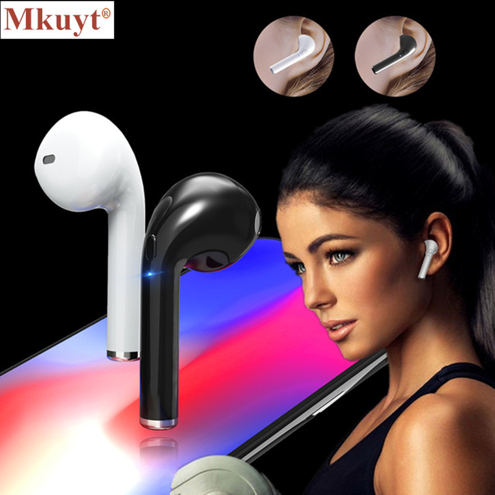 MKUYT I7 Wireless Bluetooth V4.1 Earbuds Headphone Music Single Stereo Earphone Headset For iPhone 5 6 7 Samsung For XiaoMi bluetooth earphone headphone for iphone samsung xiaomi fone de ouvido qkz qg8 bluetooth headset sport wireless hifi music stereo