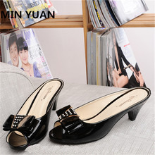 MIN YUAN Shallow Mouth Women Sandals Bowtie Crystal Lady Slippers Open Toe Low Heel Summer Beach Shoes Plus Size Eur 34-43