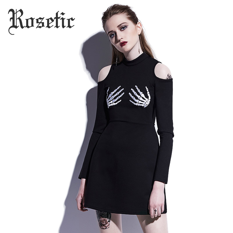 Rosetic Gothic Dresses Slim Skull Spring A-Line Black Hollow Summer Pullover Fall O-Neck Above Nnee Gothic Mini Dresses