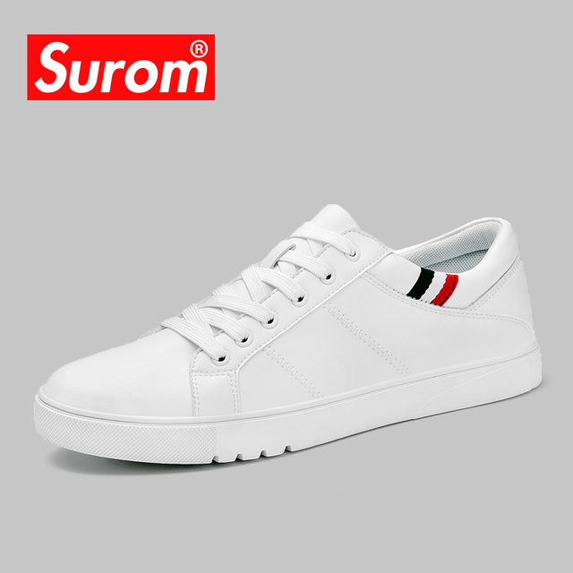 SUROM 2018 Spring New Men Casual Shoes Breathable Wear Resistant Shoes Comfortable Summer White Round Toe Lace up Flat Snekaers