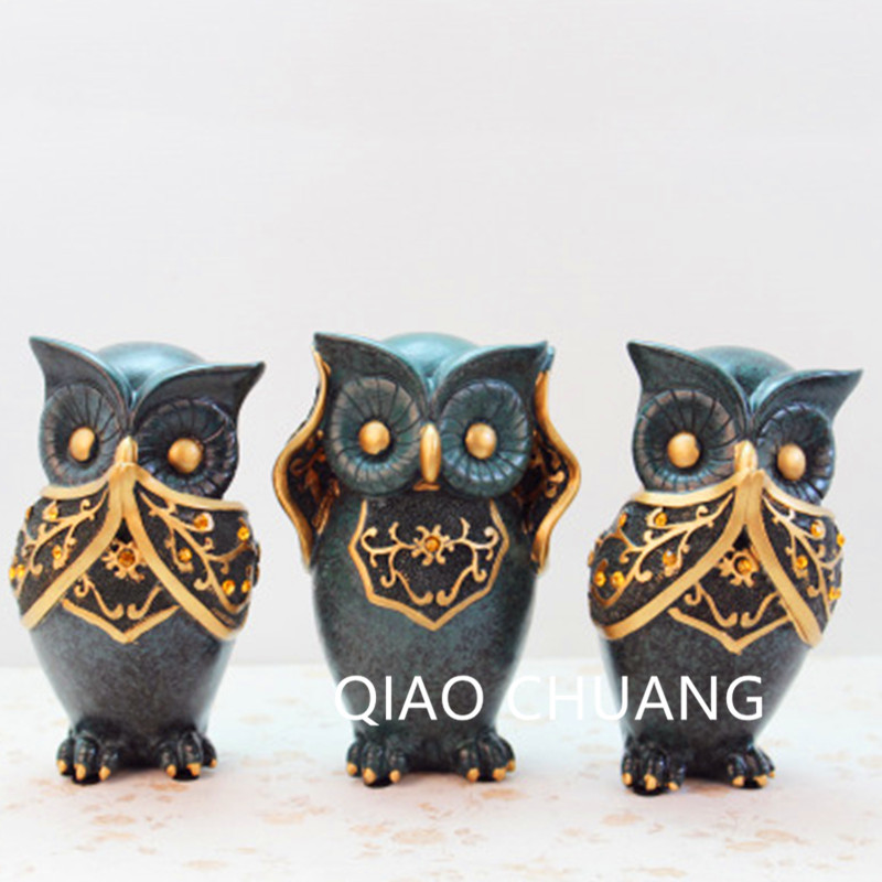 Fashion Resin Crafts European Green Taste Owl Ornaments Cupboard Living Room Office Home Decorations High-end Birthday Gift S474 hot sale european style resin phoenix wine rack high end home accessories bar wine rack wholesale