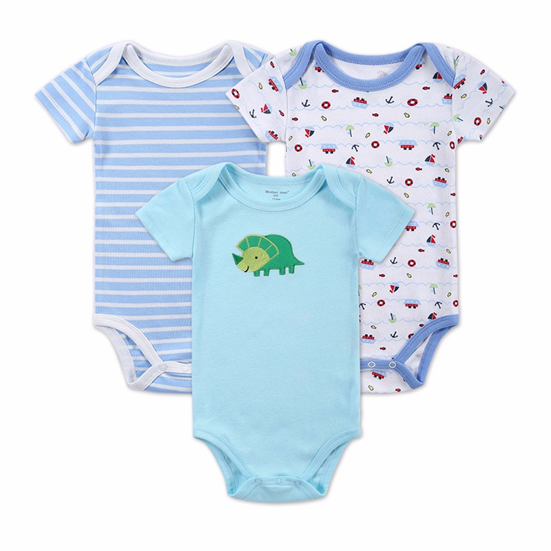 3 PCSLOT Baby Boy Clothes Newborn Baby Bodysuit Short Sleeved Cotton Baby Romper Toddler Underwear Infant Clothing Baby Outfit (8)