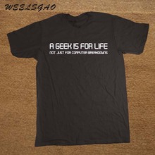 A GEEK IS FOR LIFE PRINTED MENS T-SHIRT FUNNY COMPUTER COOL TEE TOP