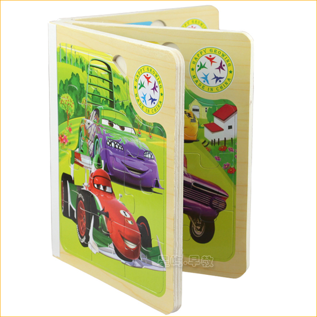 Free Shipping,1pcs Childrens Girls Kids  Wooden Book,Colorful Cars 2 Books 3D Puzzle Toys,Educational Toys, Gift