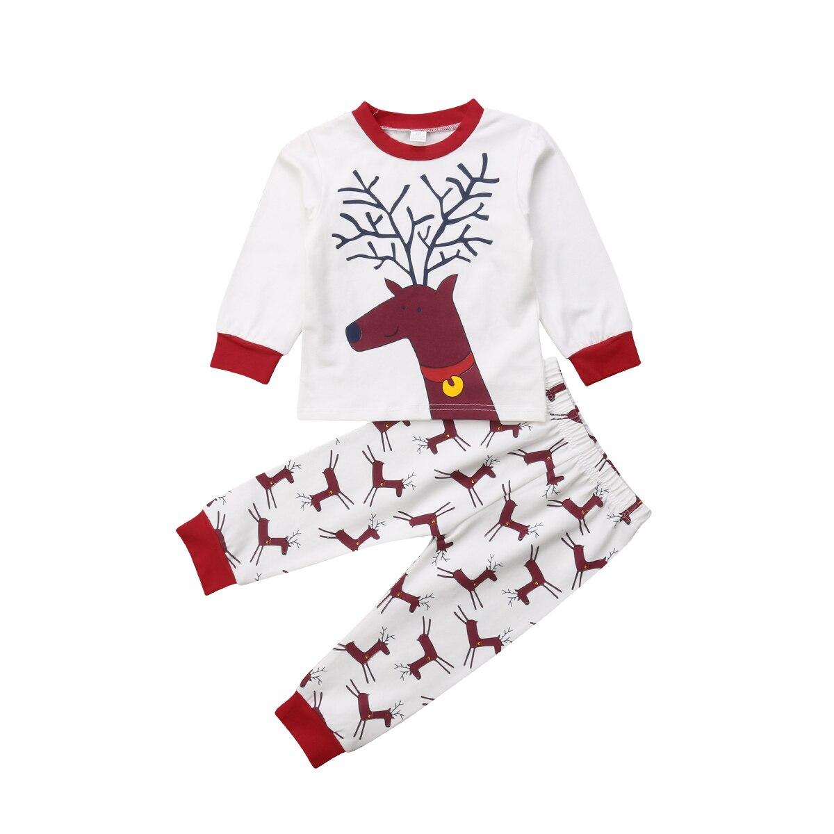 Toddler Baby Girl Boy Christmas Deer Pajamas Set Deer Tops Pants Home wear Pajamas Christmas Kids Clothes Sleepwear 2PCS Set deer print pocket front pajama set