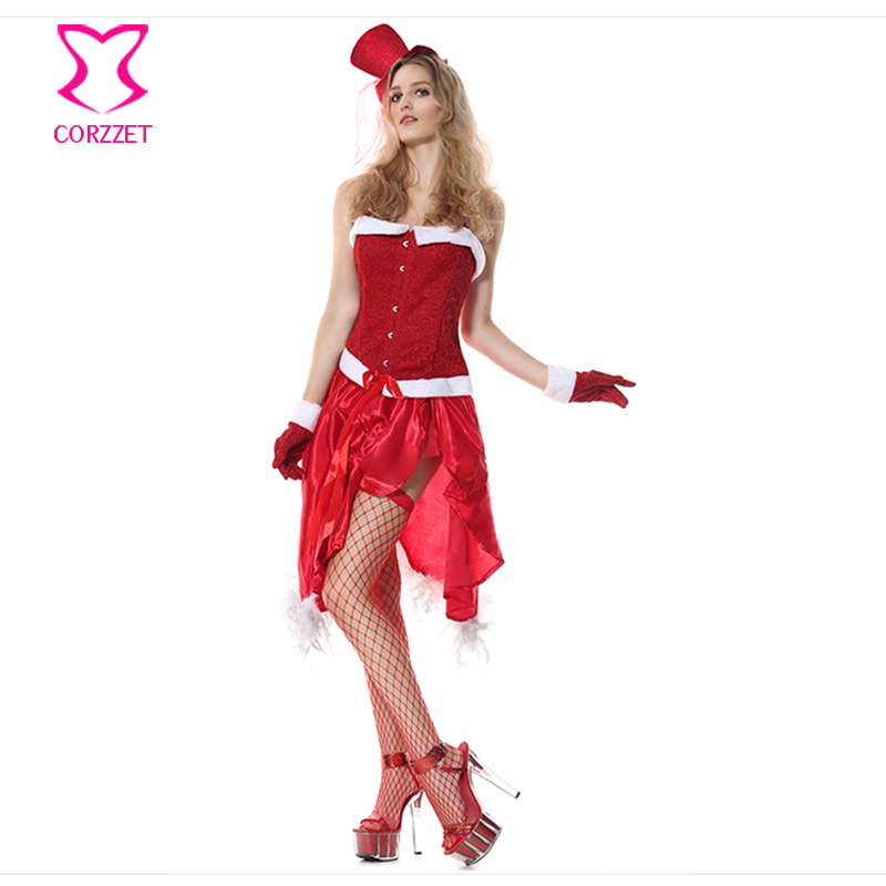 <font><b>Sexy</b></font> <font><b>Christmas</b></font> <font><b>Costume</b></font> Cosplay Girl Santa Red Fancy Corset Dress Burlesque <font><b>Outfits</b></font> Deguisement Halloween <font><b>Costumes</b></font> For Women image