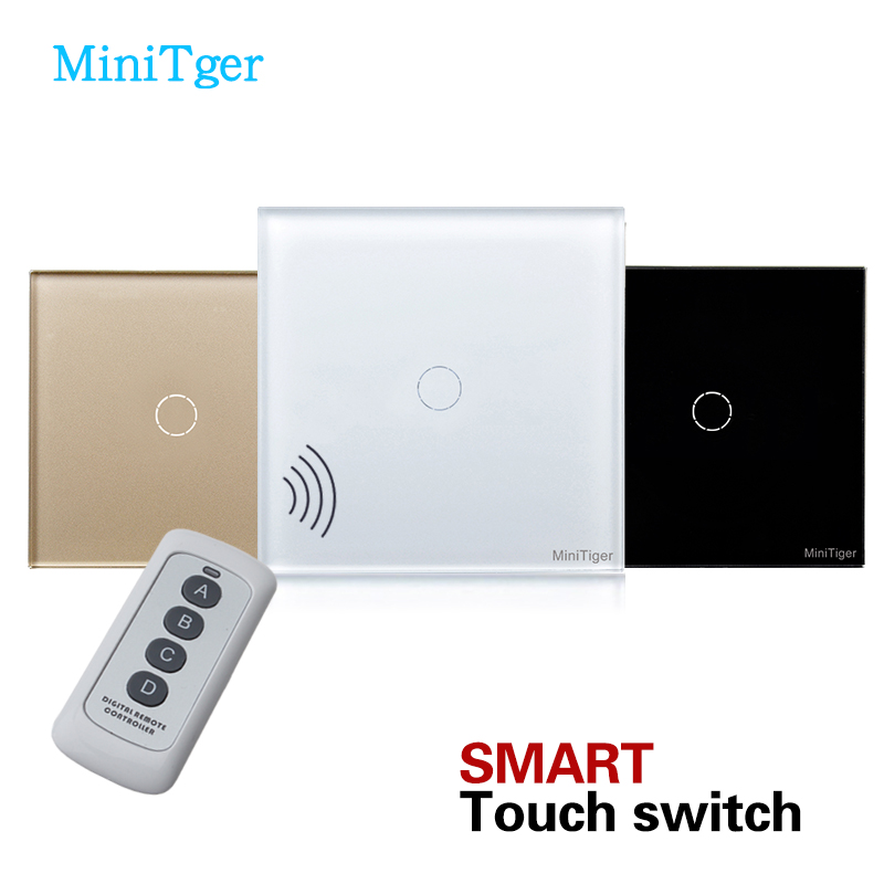 MiniTiger Eu Standard Remote Control Light Switch,Crystal Glass Panel Single FireWire touch wall switch home automation wall light switch eu standard 220v 3gang white crystal glass panel remote control touch light switch with led