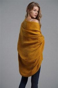 Image 3 - Fitshinling oversized camisola cardigan roupas femininas retalhos batwing manga longa outerwear feminino inverno casaco de tamanho grande