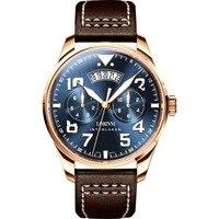 LOBINNI мужской бизнес м 50 M водостойкий кожаный ремешок Мода пилот большой циферблат Автоматические самоветер механические наручные часы