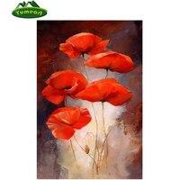 5D DIY Diamond Painting Folral Diamond Painting Cross Stitch Kits Red Poppies Flowers Diamond Stick Drill