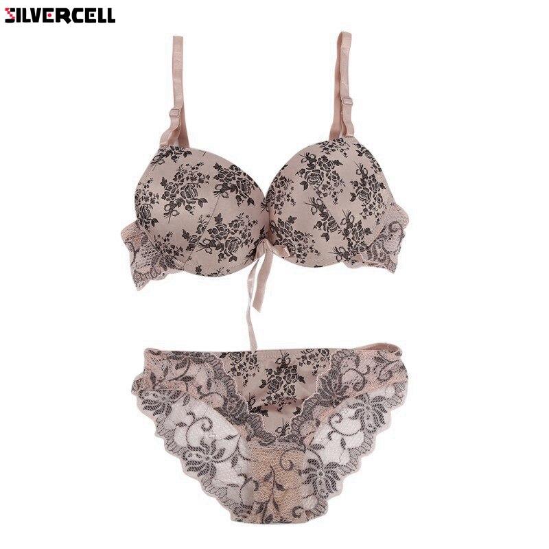 c831410d9e Women Floral Lace Bra Set Lingerie Underwear Push Up Padded Bra Set 32 - 38  BC