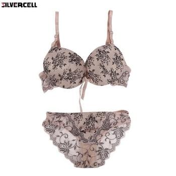 Women Floral Lace Bra Set Lingerie Underwear Push Up Padded Bra Set 32 - 38 BC padded striped color block push up bra set