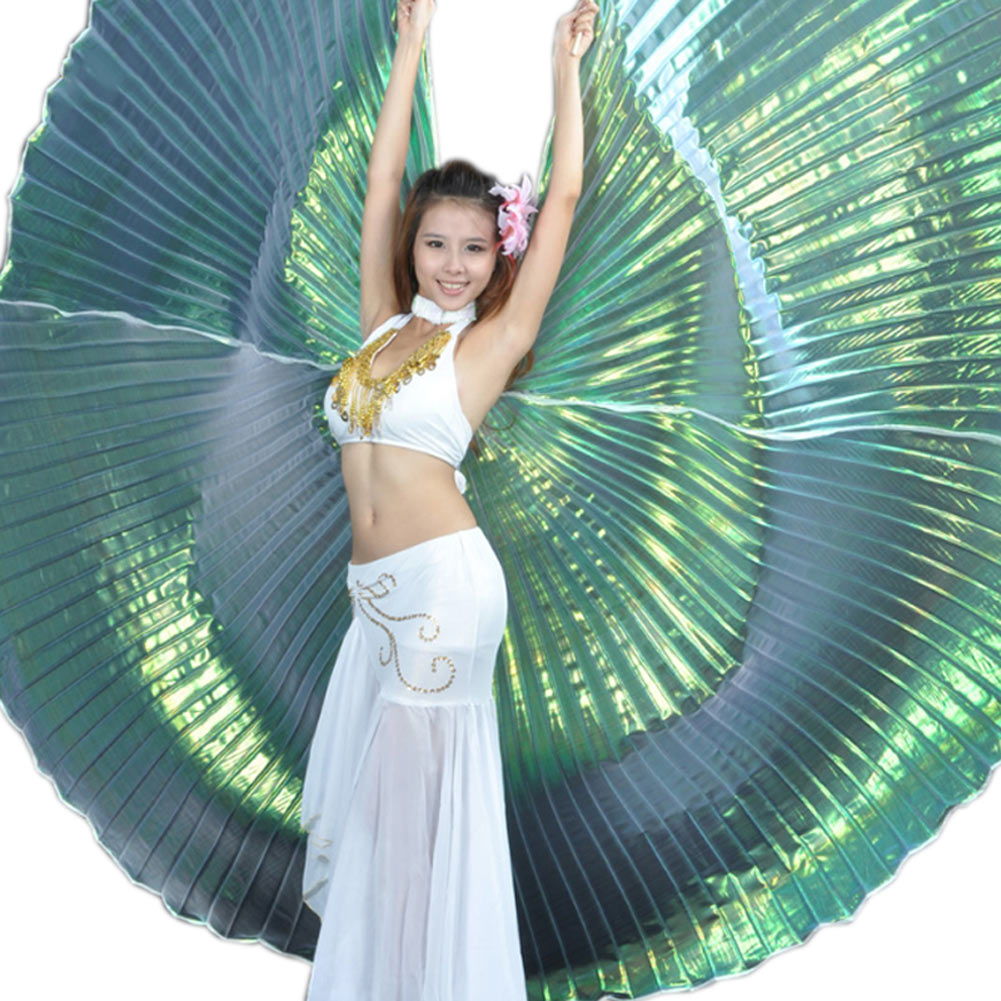 Elegant Iridescent Isis Wings with Holding Stick Belly Dancing Costume Supplies Props -MX8