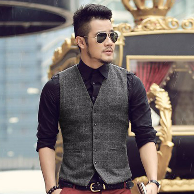 Men Suit Vests Autumn 2016 New Arrival mens slim fit Plaid woolen dress suit vest Waistcoat