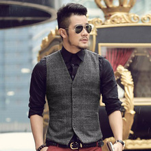Men Suit Vests Autumn 2016 New Arrival mens slim fit Plaid woolen dress suit vest Waistcoat Casual Business vests Tops 5 Buttons