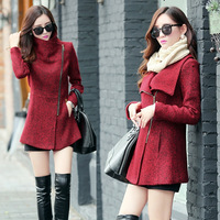Korean Type Fashion Women Slim Zipper Western Wind Rome Retro Woolen Coats Jackets