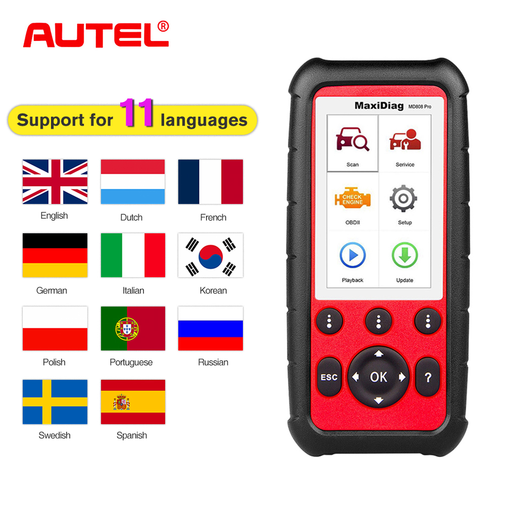 Autel Maxidiag MD808 PRO OBD2 Auto Scanner Diagnostic Tool OBD 2 Car Diagnostic Scanner scania Automotivo Automotriz Scan Tool-in Code Readers & Scan Tools from Automobiles & Motorcycles