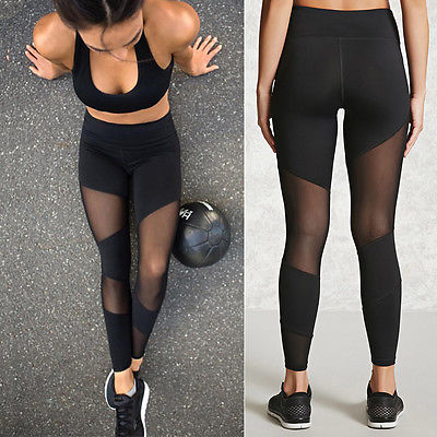 Women Workout High Waist Fitness Solid Black Stretch Long Leggings Mesh Patchwork