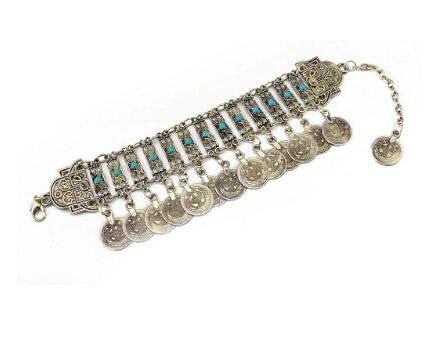 Coin Bracelet Men Silver...
