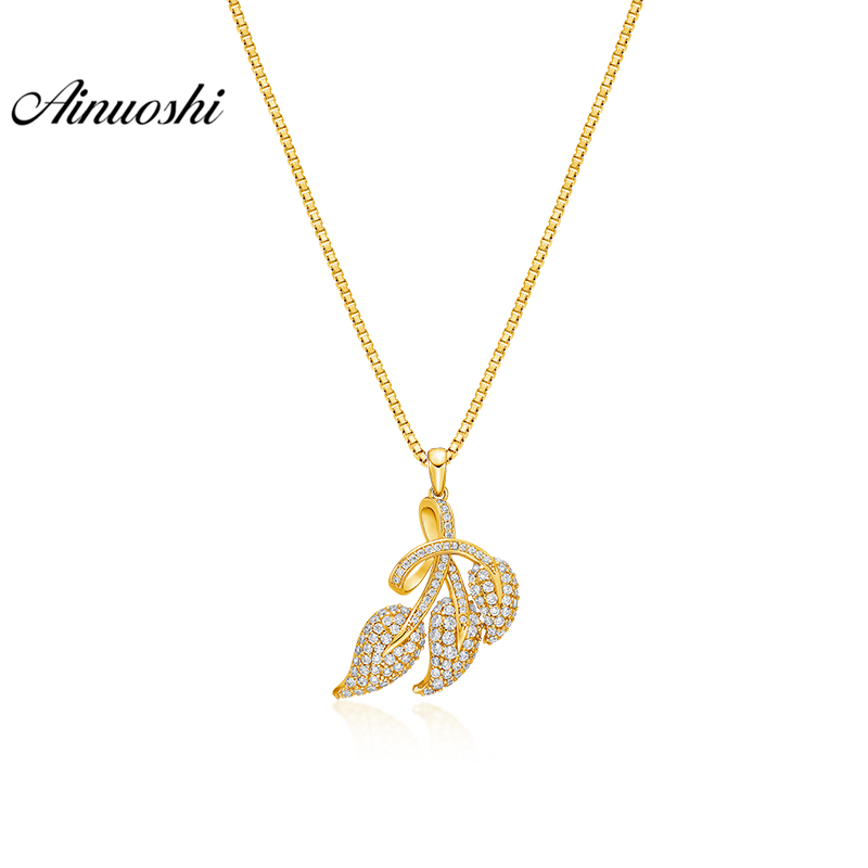 AINUOSHI 10K Solid Yellow Gold Pendant Twisted Leaves Pendant SONA Diamond Women Men Children Gold Jewelry 2.8g Separate Pendant 18krgp four leaves clover diamond pendant alloy necklace gold