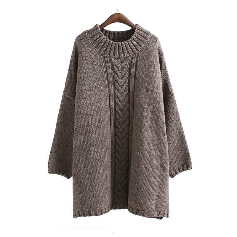 Свитер с круглым вырезом в европейском и американском стиле свободного размера плюс, вязаная одежда, толстое однотонное пальто, модное женское осенне зимнее пальто средней длины - 3